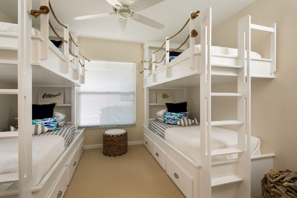 white modern bunk bed design