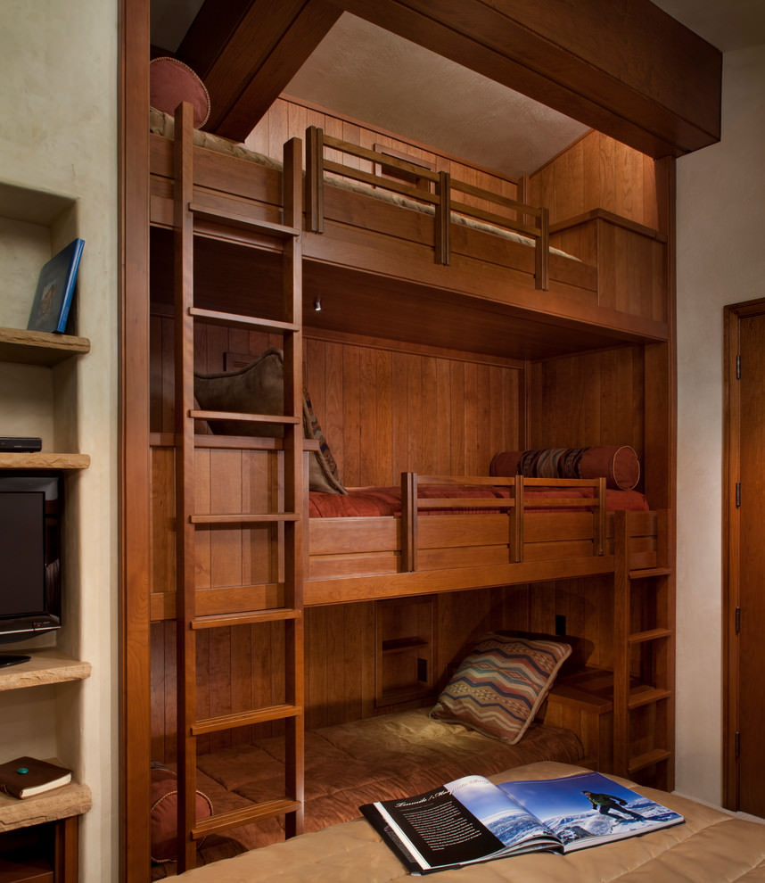 wooden modern bunk bed design