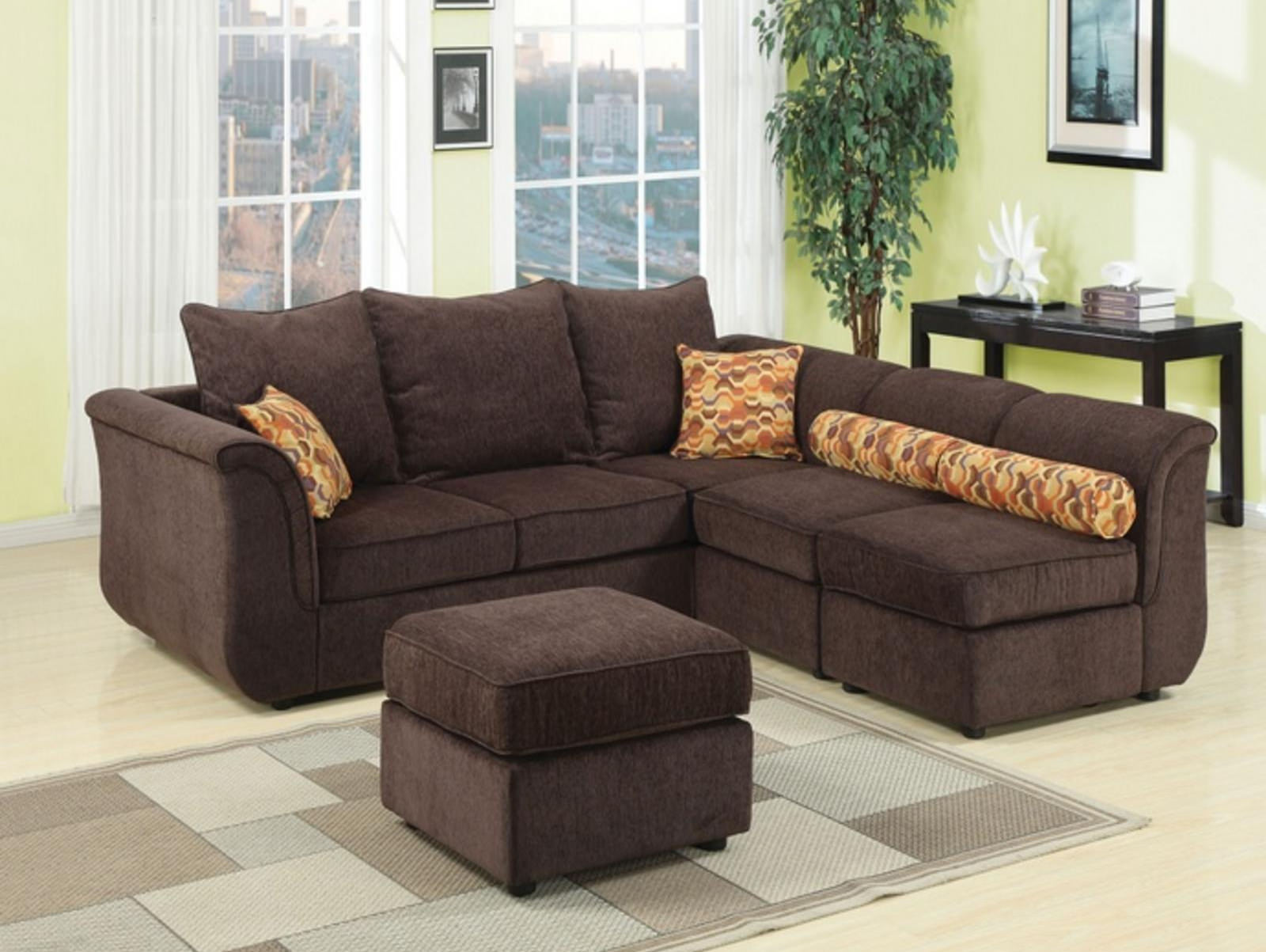 Chocolate Chenille Upholstered Modular Sectional Sofa