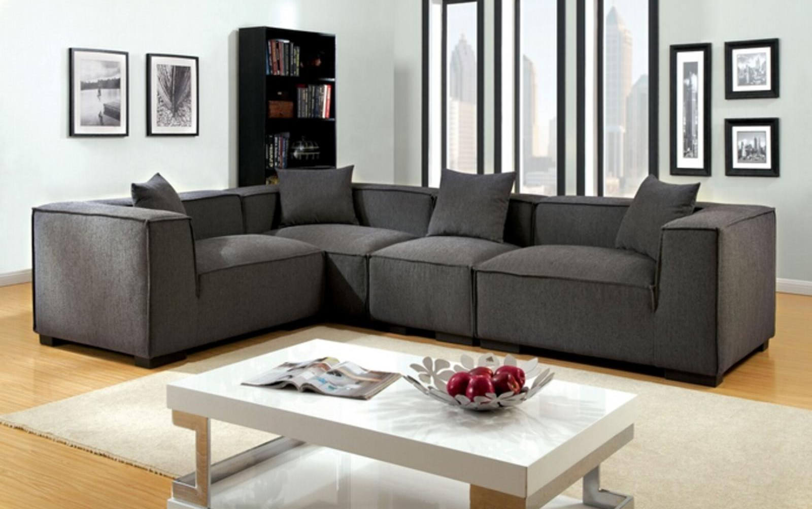 Grey Fabric Upholstered Modular Sectional Sofa Set