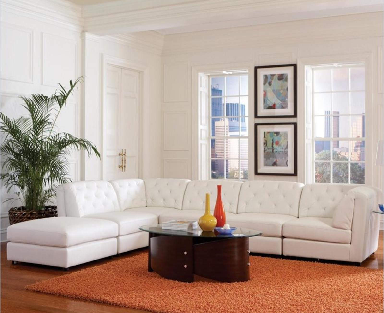 White Transitional Modular Leather Sectional Sofa