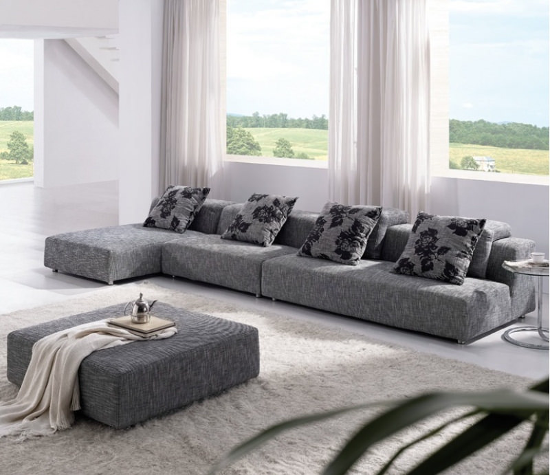 Grey Fabric Upholstered Sofa