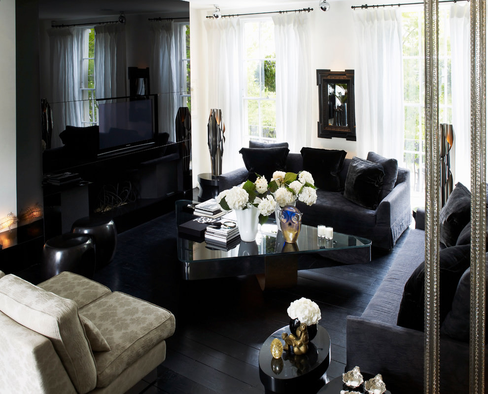 Awesome Black Living Room Design