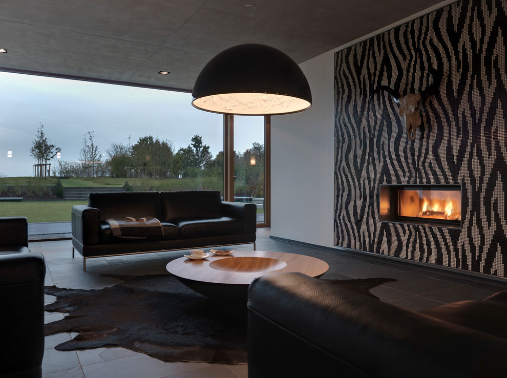 Modern Black Living Room Design