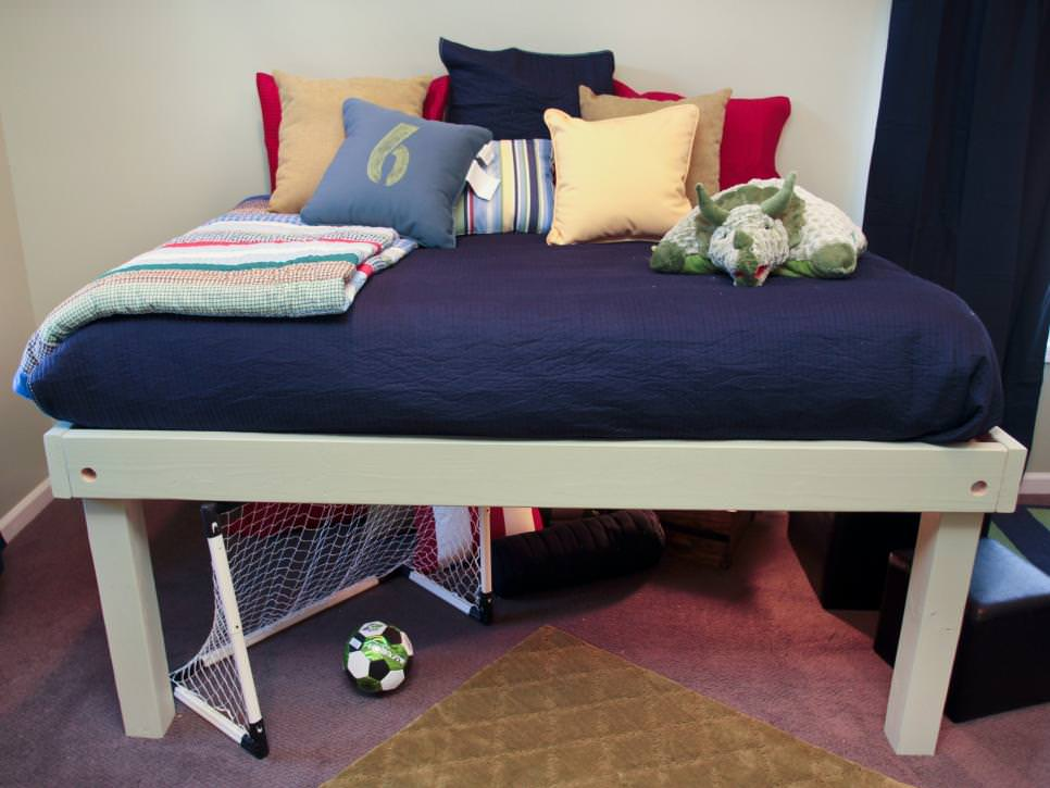 White Platform Bed in Boys Bedroom