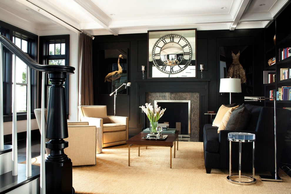 Transitional Black Living Room Design