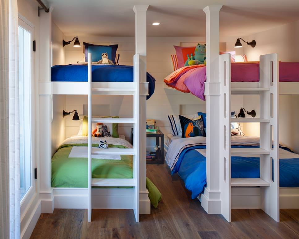 neutral kids room with multiple bunk beds