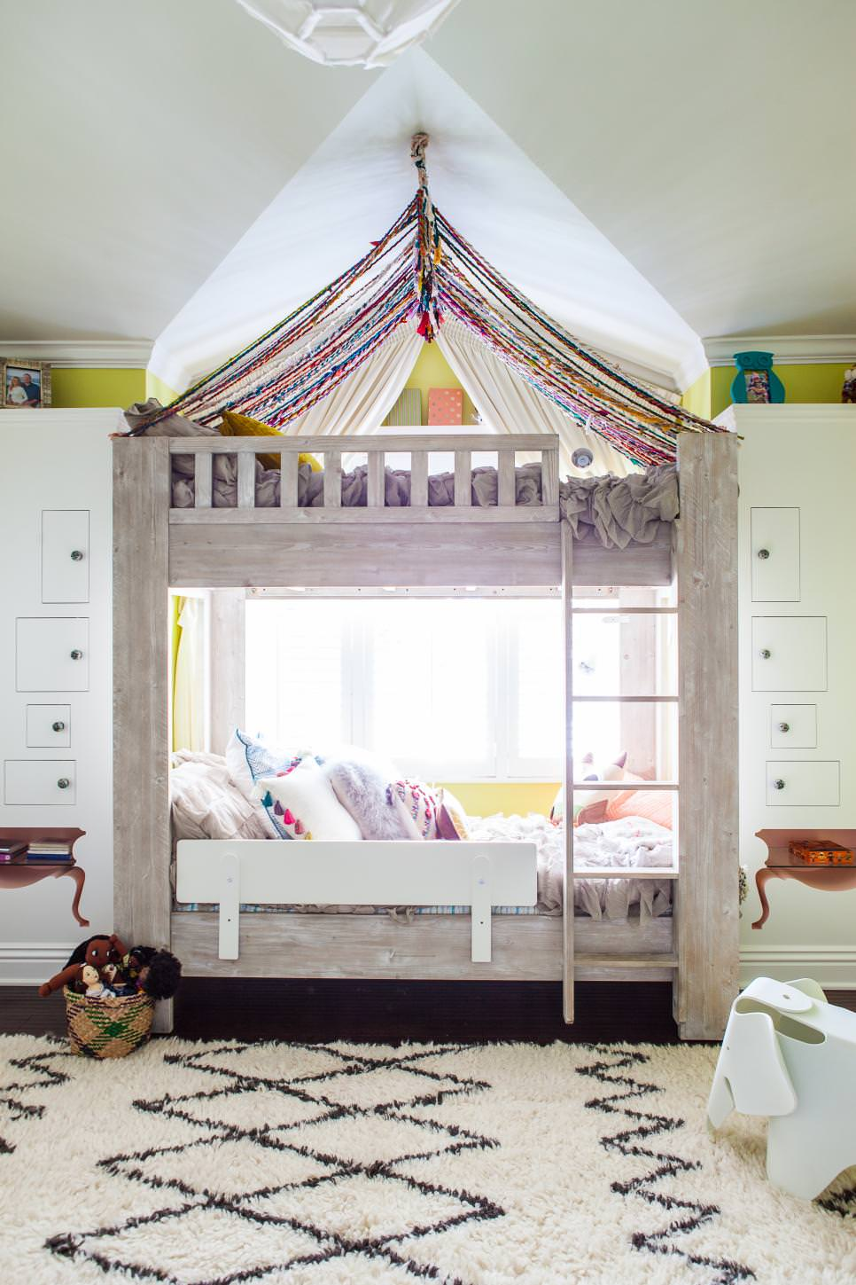 Whimsical Kids Room Features Bunk Beds