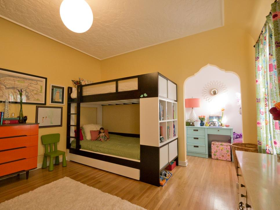 shared kids room with contemporary bunk beds