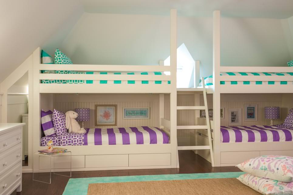transitional kids room with bunk beds