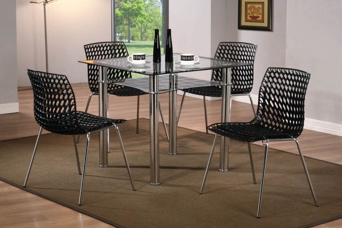 Modern Small Square Glass Dining Table