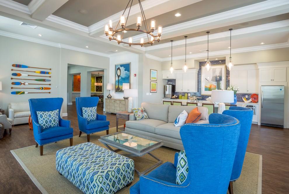 Aqua Blue Beach Living Room