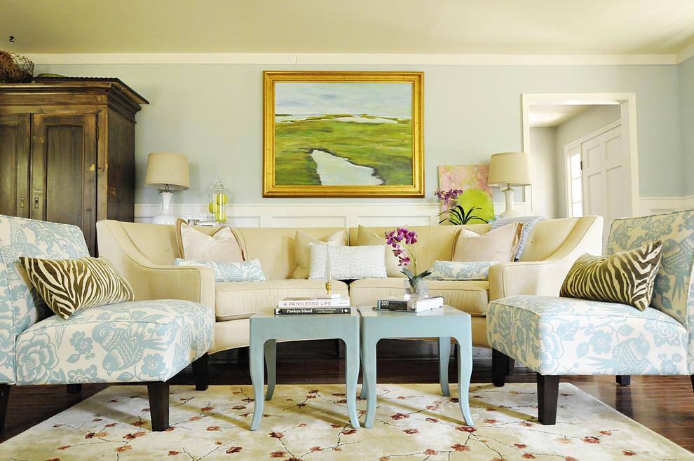 Classy Blue Beach Living Room