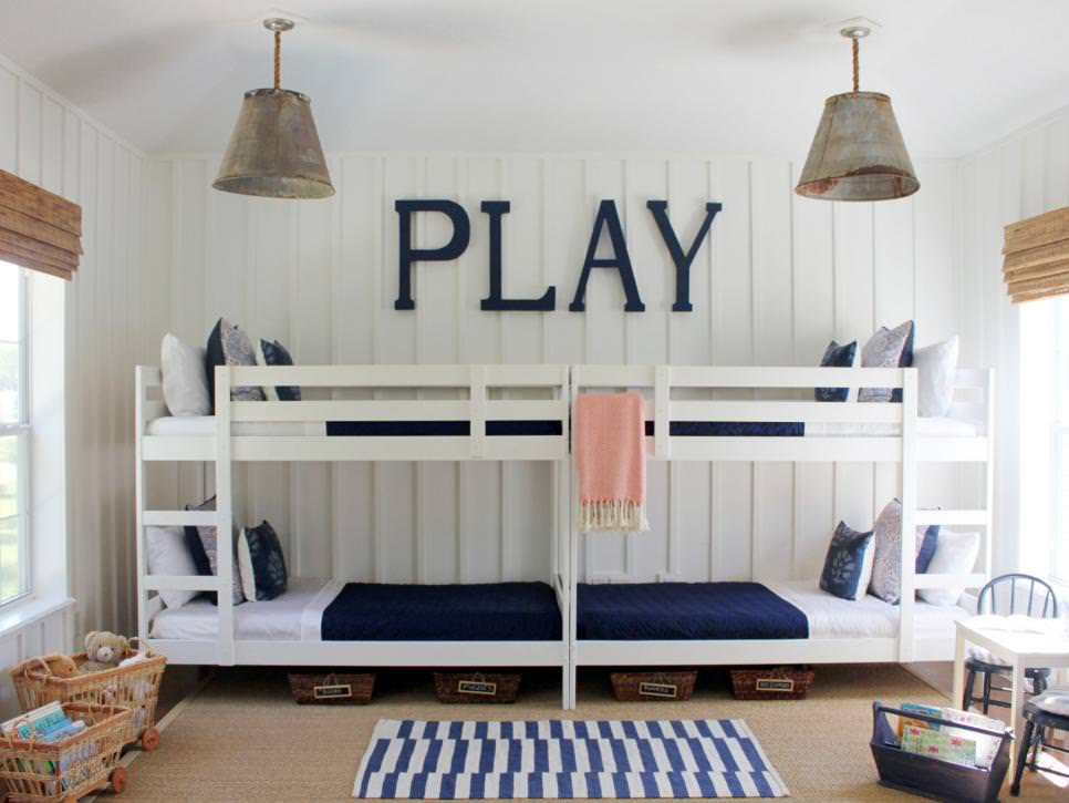 kids bedroom with double bunk beds