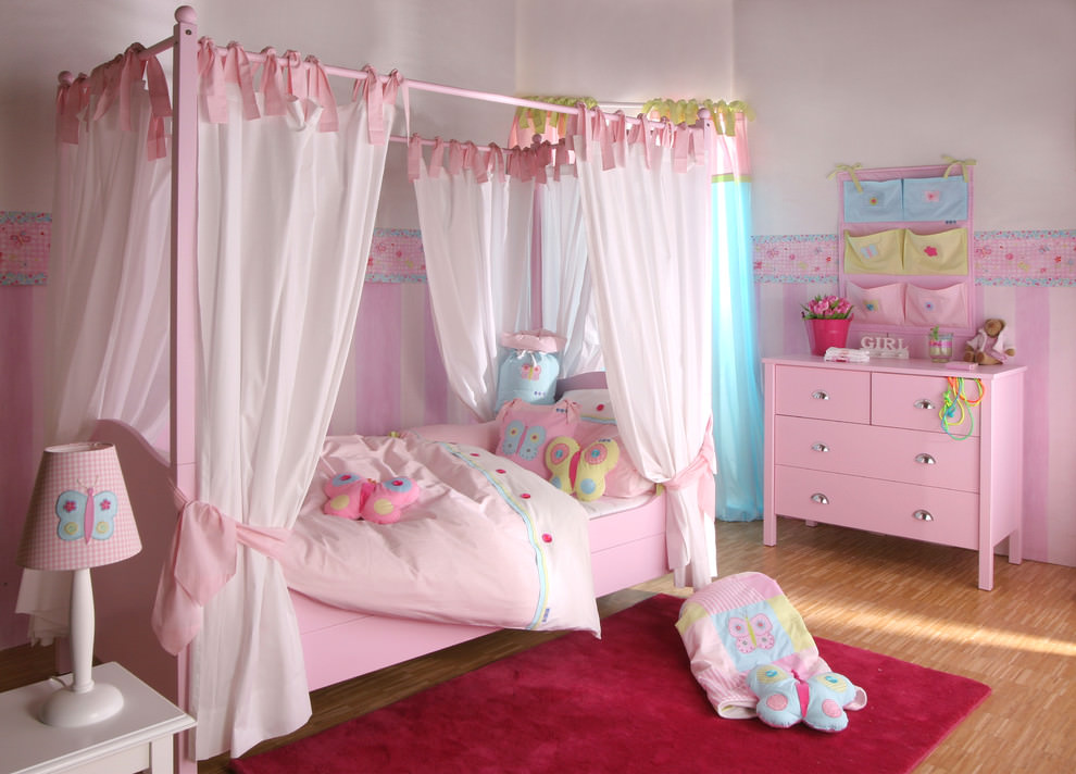Beautiful pink girly bedroom design
