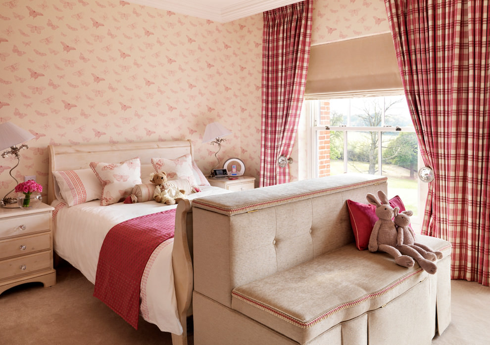 Pink color girly bedroom design