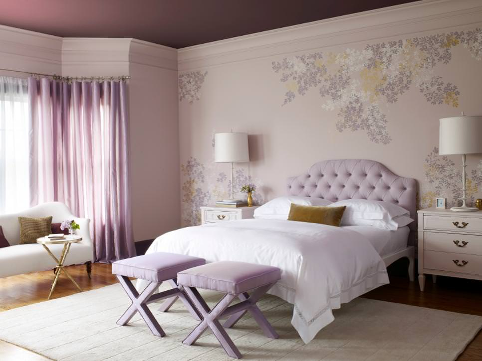 serene lavender bedroom with floral wall design