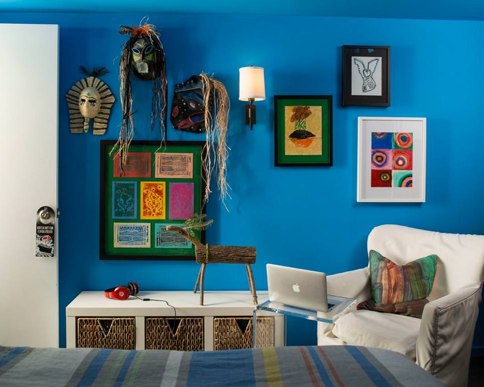 bright blue boys bedroom with colorful decor designs