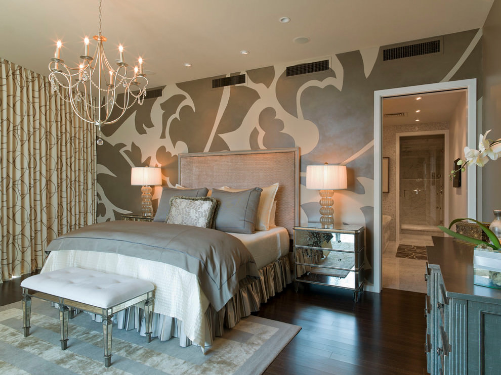 master bedroom with nice wall design