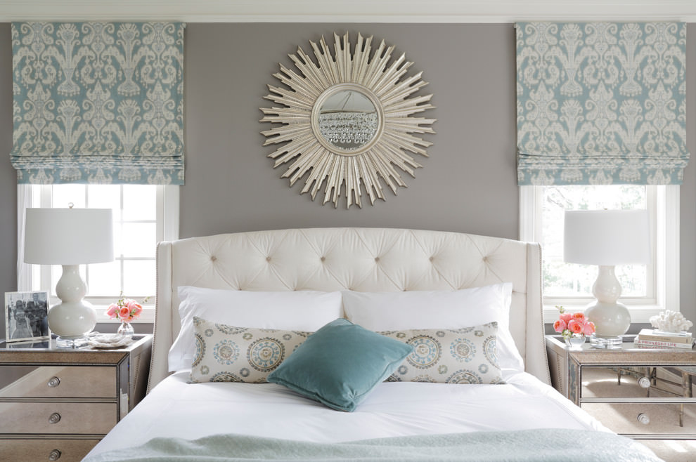 Transitional Bedroom With Sun Mirror Wall Design