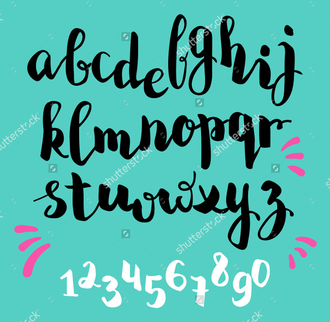 Stock Vector Brush Pen Style Alphabet Calligarphy Font