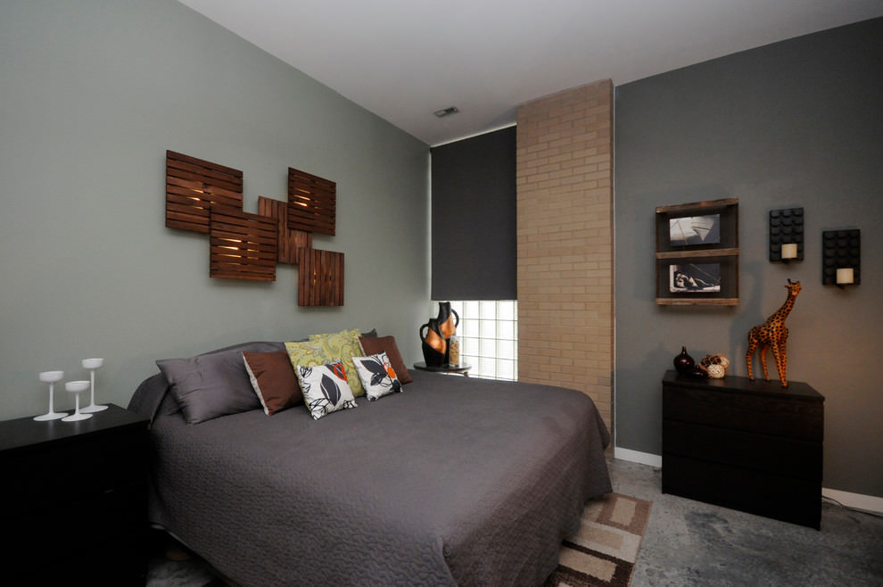 cool bedroom with wood wall decor design