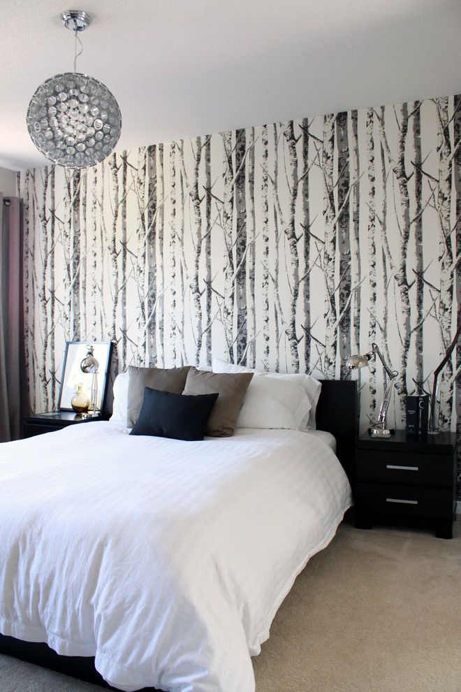 contemporary tree art on wall bedroom design