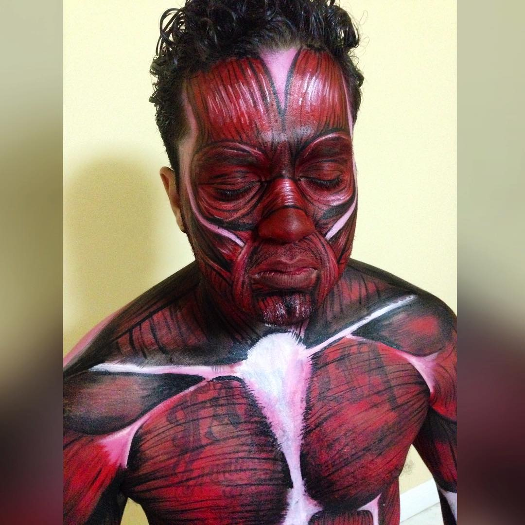 Halloween Painting on Muscle Body
