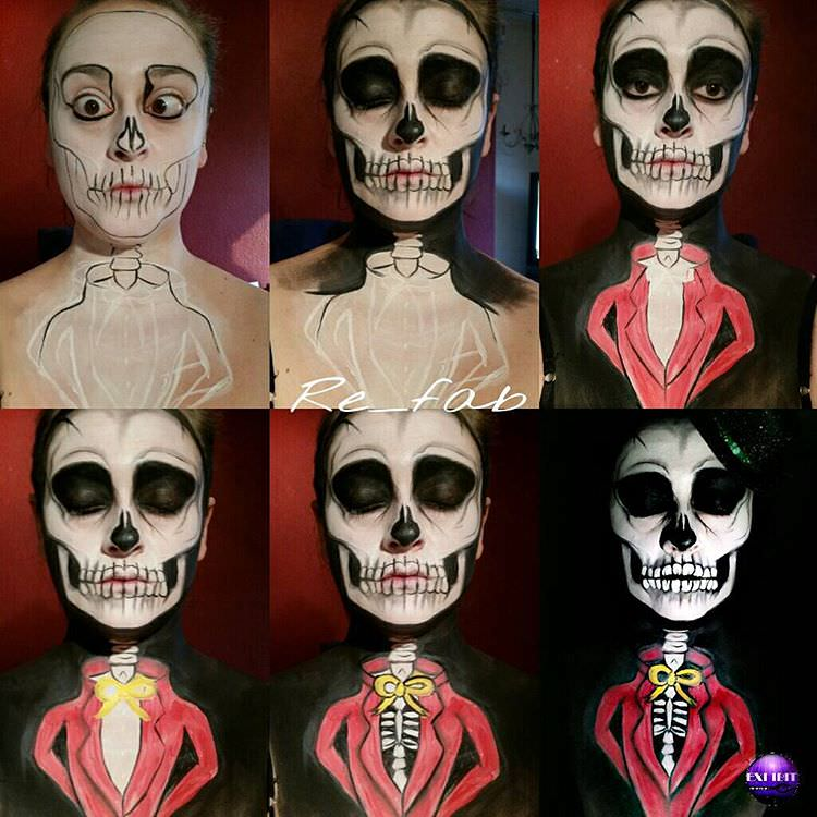 skull painting on face