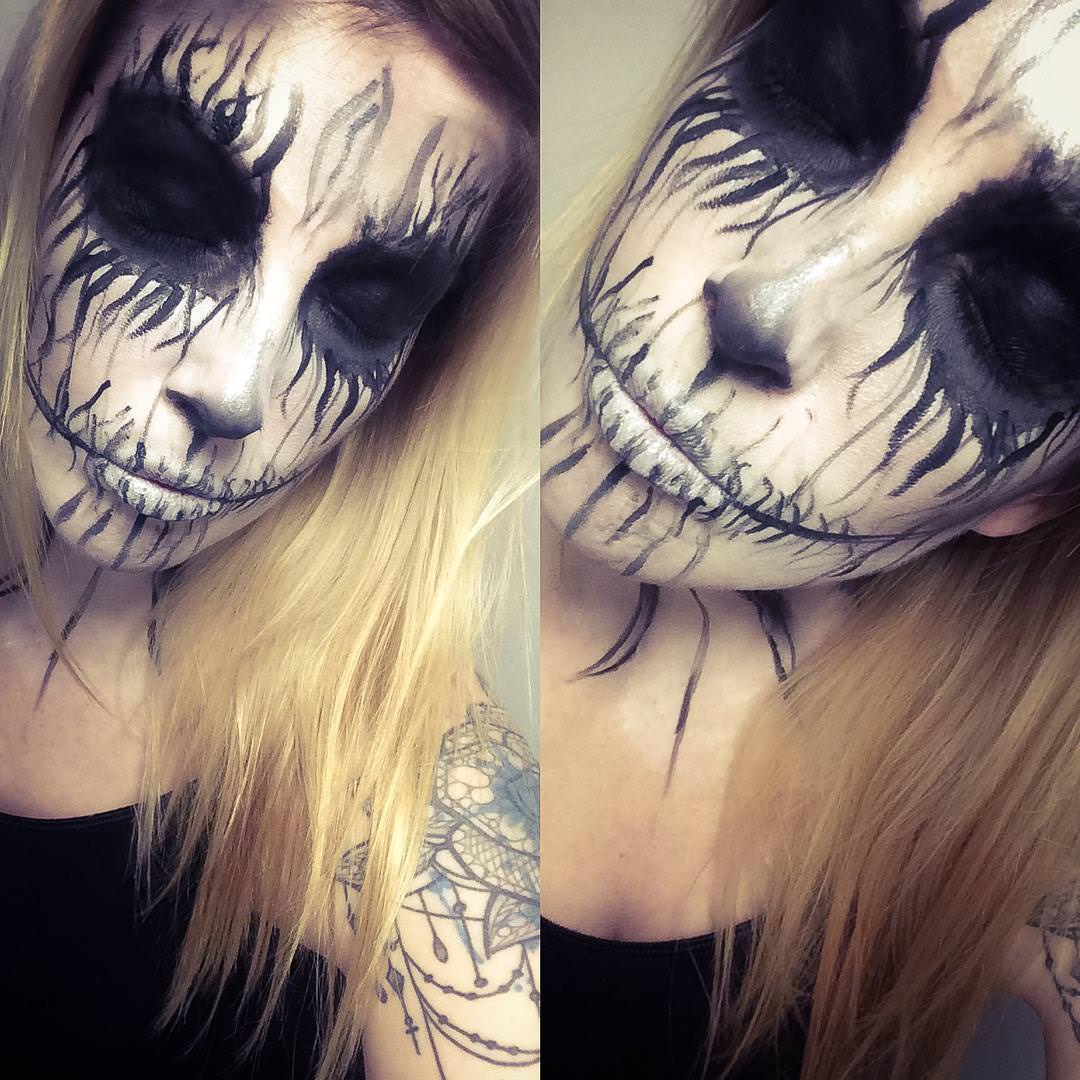 Halloween Face Painting with Black