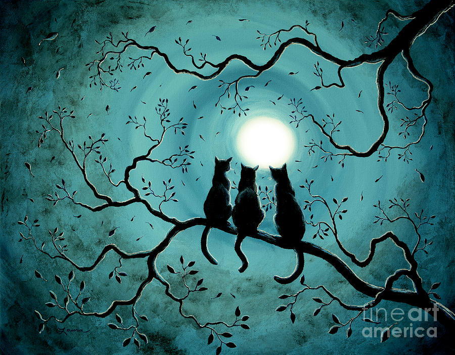 Three Black Cats Under a Full Moon