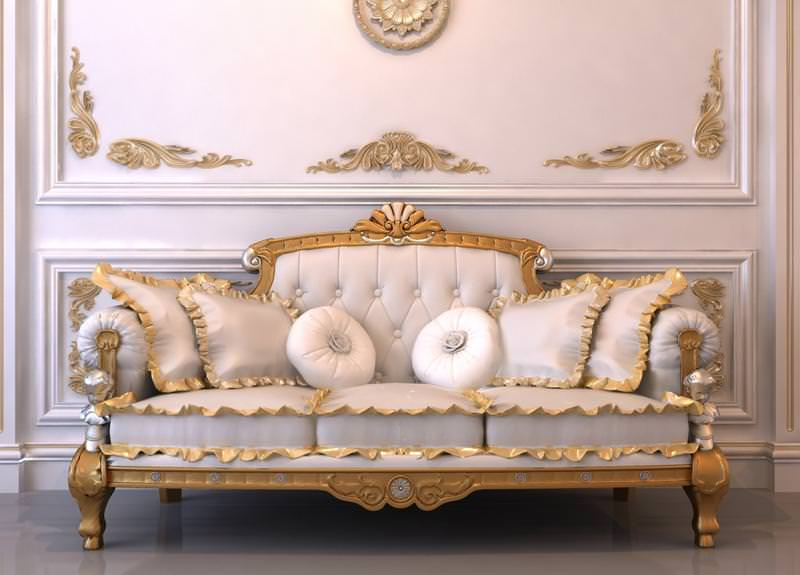 Elegant Gold border royal sofa set design