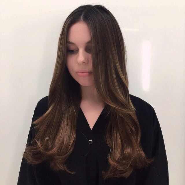 silky long layered hairstyle