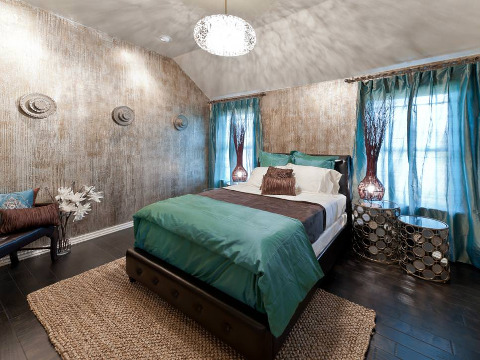 Master Bedroom With Metallic Faux Painted Walls