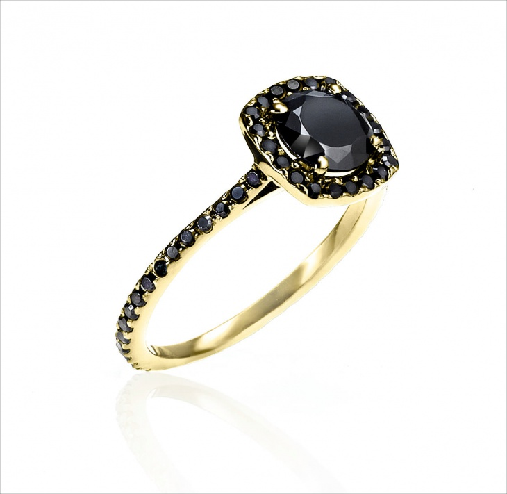 Eternity Yellow Gold & Black Diamond Ring