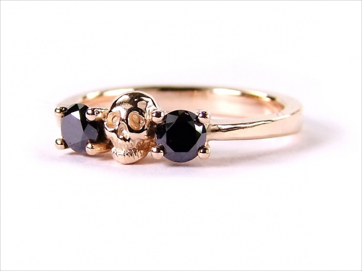Rose Gold Skull Ring-Black Diamond Ring