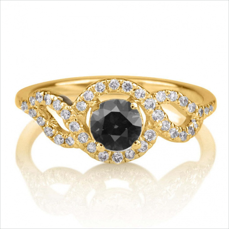 Braided Black Diamond Engagement Ring