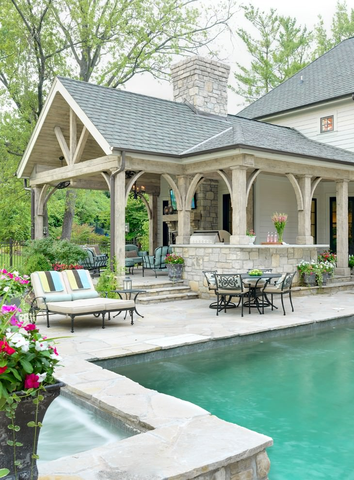 20 outdoor living room designs decorating ideas design for Back yard pool designs