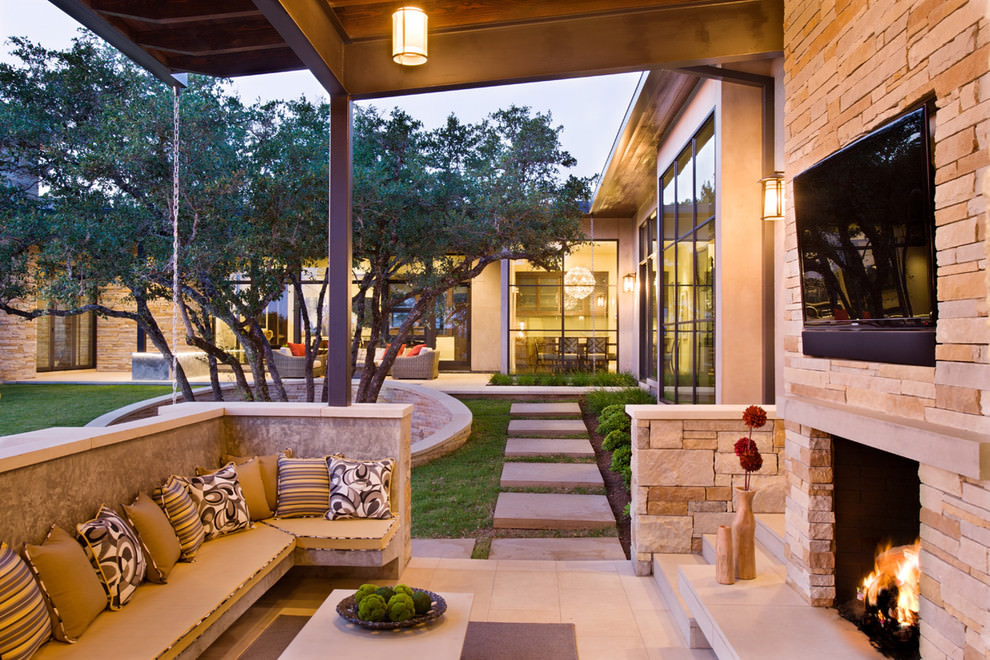 20 outdoor living room designs decorating ideas design for Outside exterior design