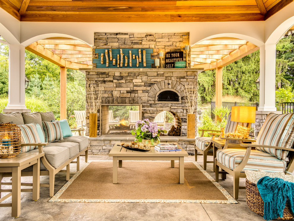 Nice Traditional Porch In Outdoor Living Room Design