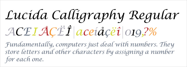 lucida calligraphy regualr fonts