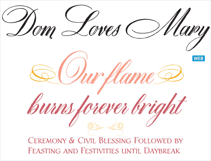 dom loves mary wedding font