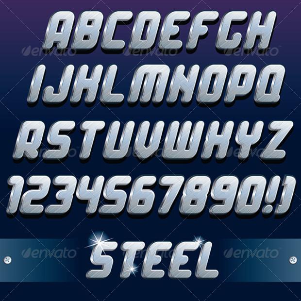3D Metal Font for download