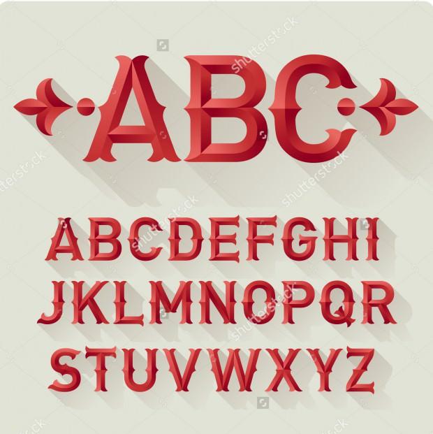 Stock vector elegant retro style red font set