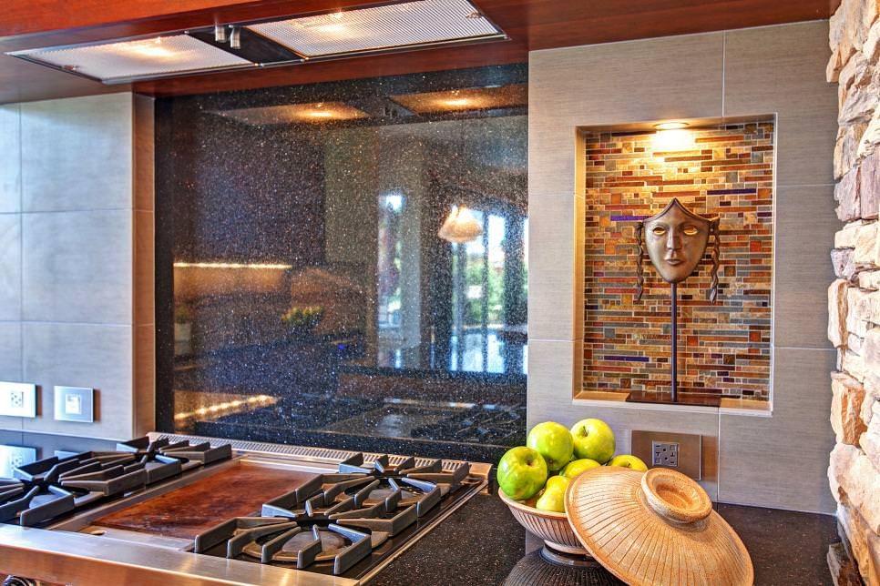 black granite backsplash in asian style kitchen