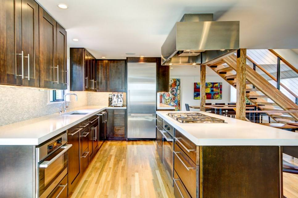 Asian Style Kitchen Features Dark Wood Cabinetry