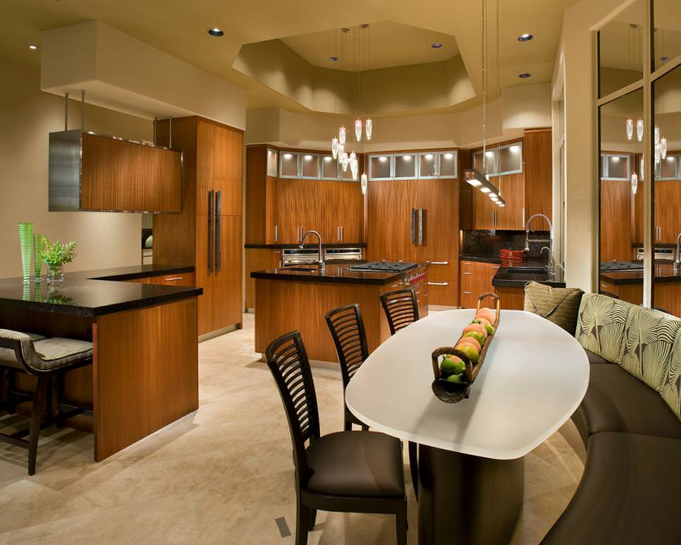 asian eat in kitchen with sleek wood cabinets