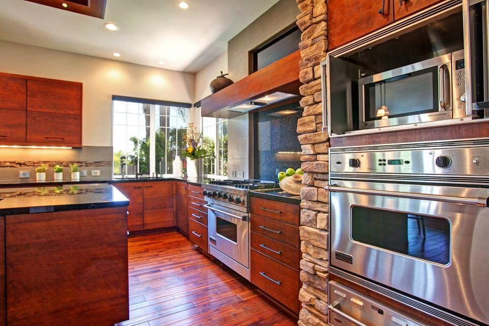 kitchen with rustic and asian styles