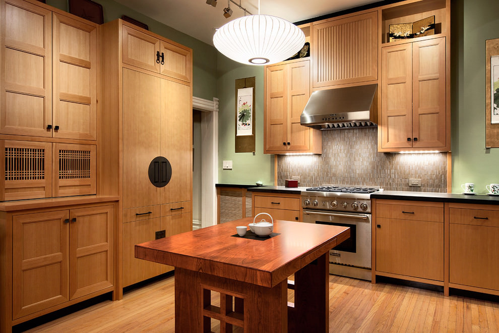 wooden finishing cooking room