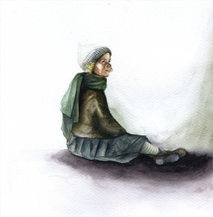 wonderful painting of girl with watercolors
